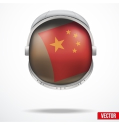 Astronaut helmet with flag China vector