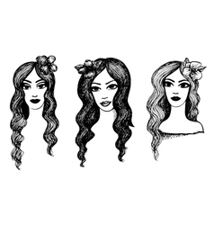 Beautiful girls with flowers in hair vector image