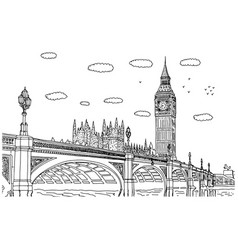big ben in london sketch doodle vector image