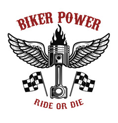 biker powerpiston with wings on light background vector image