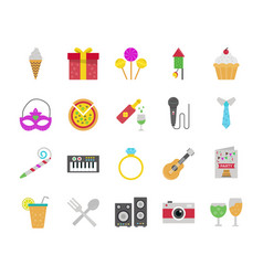 Birthday flat icon pack vector