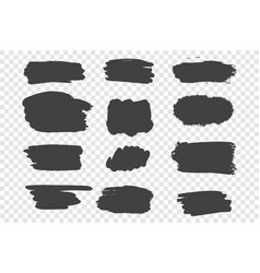 black ink strokes set vector image