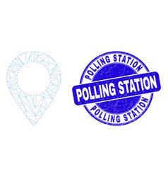 Blue distress polling station stamp seal and web vector
