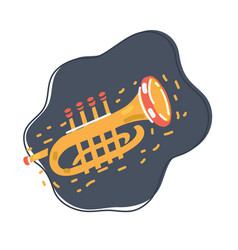 brass trumpet on dark vector image