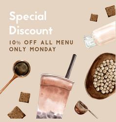 Brown sugar bubble milk tea set promotion free vector