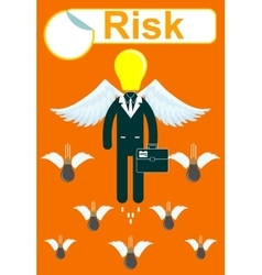 Business Man on a Wire Risk Management Concept vector
