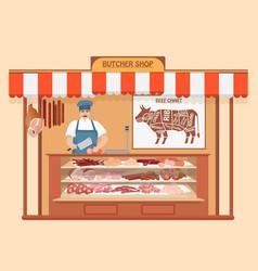 butcher shop meat man seller store shelves vector image