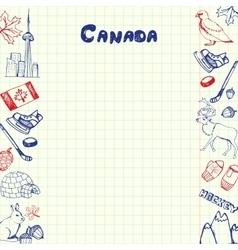 Canada Symbols Pen Drawn Doodles Collection vector image