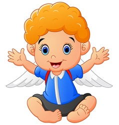 cartoon baby wearing wing vector image