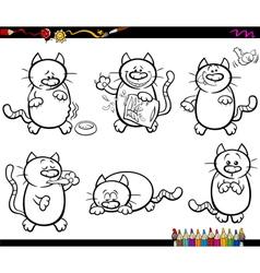 Cats set coloring book vector