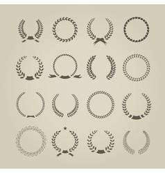 Collection of sixteen circular vintage laurel vector