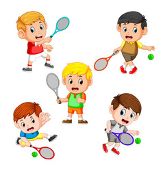 Collection of the profesional tennis field vector