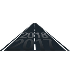 concept of new year 2018 on the road vector image