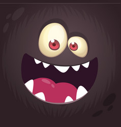 Cool cartoon black monster face vector
