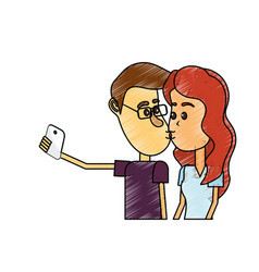 Couple kissing and taking selfie with smartphone vector
