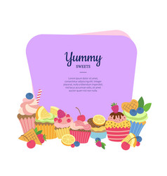 cute cartoon muffins or cupcakes isolated vector image