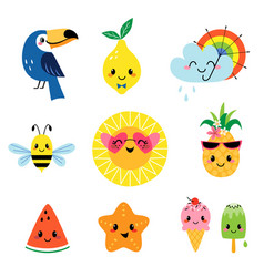 Cute summer characters set vector
