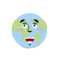 Earth happy emoji planet merry emotion isolated vector