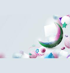 Eid mubarak greeting card ramadan kareem vector