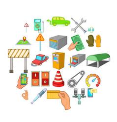 Emergency service icons set cartoon style vector