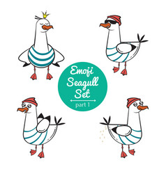 Emoji seagull set part 1 vector