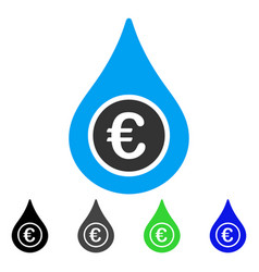 euro liquid drop flat icon vector image