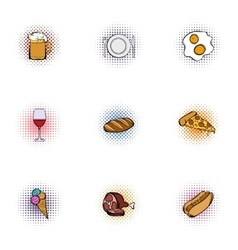 Fast food icons set pop-art style vector image