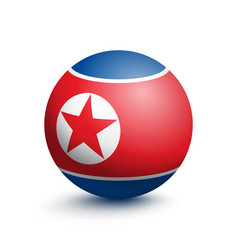 flag of north korea in the form of a ball vector image