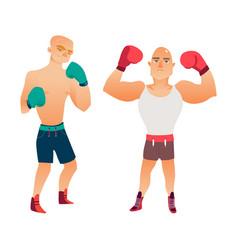 Flat muscular handsome boxer man set vector