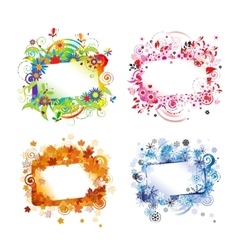Four seasons design frames with place for your vector image vector image