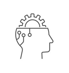 gear in head icon ai concept head of vector image