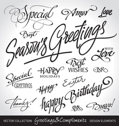 Greetings lettering set vector