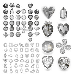Greyscale gems set vector