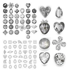 greyscale gems set vector image