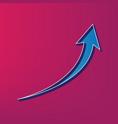 growing arrow sign blue 3d printed icon vector image