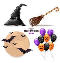 halloween set moon balloons witch hat and vector image