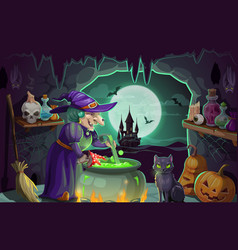 halloween witch with potion and cauldron vector image