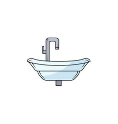Hand drawn bathroom sink washbasin with faucet vector