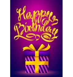 Happy Birthday poster - gold ribbon lettering and vector