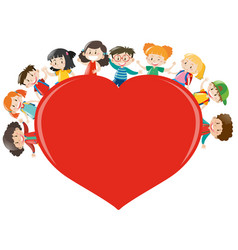 Happy children around red heart vector
