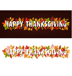 happy thanksgiving horizontal banners vector image