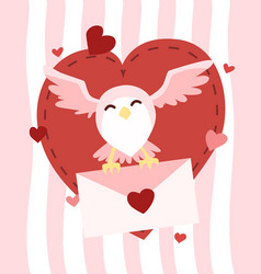 happy valentines day owl flying with letter of vector image