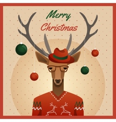 Hipster deer with hat and christmas balls vector