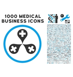 Hospital Map Markers Icon with 1000 Medical vector