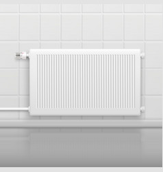Hot water radiator realistic image vector