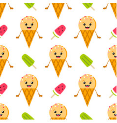 Ice cream cone character and popsicles pattern vector