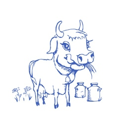 Isolated funny sketch cow for milk product vector
