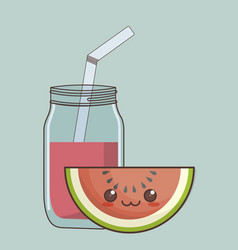 kawaii fruit and juice icon vector image