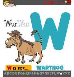 Letter w educational worksheet with warthog animal vector