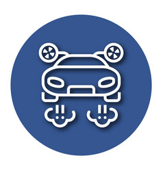 Line icon of flying car with shadow eps 10 vector